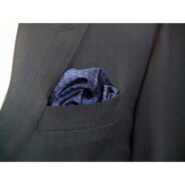 紺色(ネイビー)の市松模様ポケットチーフ(チーフ30cm) / PC-IT006|allety|05