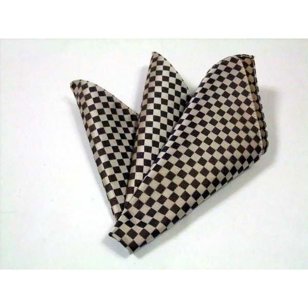 ベージュ×ブラウンの市松模様ポケットチーフ(チーフ30cm) / PC-IT004 allety