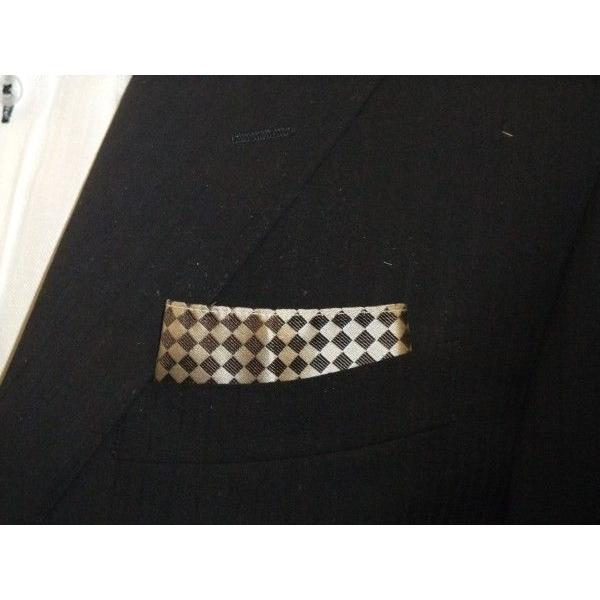 ベージュ×ブラウンの市松模様ポケットチーフ(チーフ30cm) / PC-IT004 allety 02
