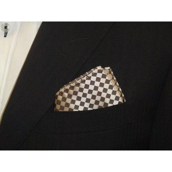 ベージュ×ブラウンの市松模様ポケットチーフ(チーフ30cm) / PC-IT004 allety 03