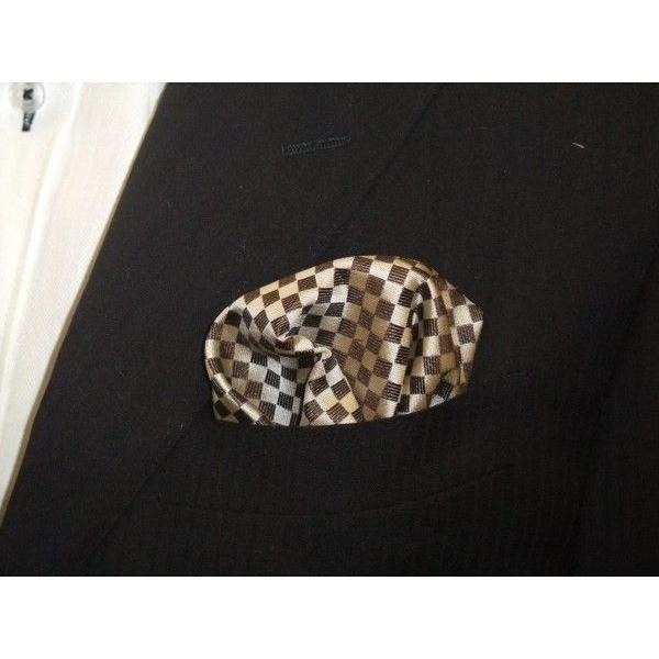 ベージュ×ブラウンの市松模様ポケットチーフ(チーフ30cm) / PC-IT004 allety 04