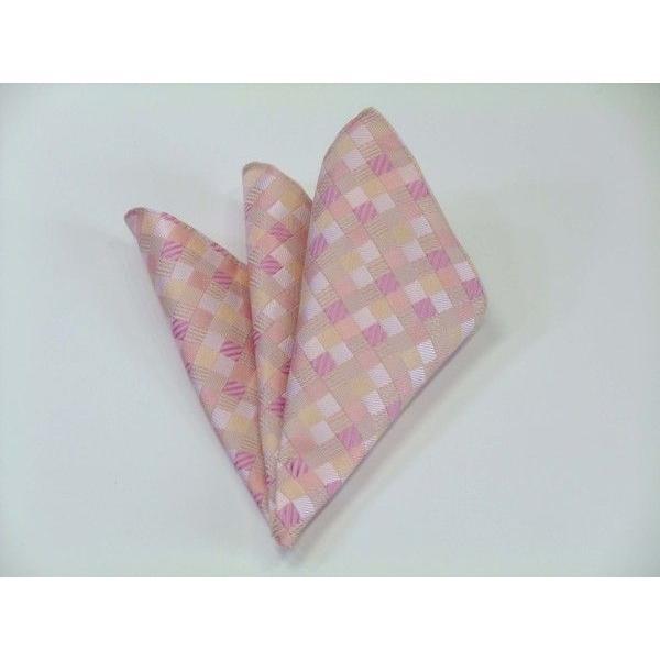 ピンクのグラデーション(4色)の市松模様ポケットチーフ(チーフ23cm) / PC-IG004|allety