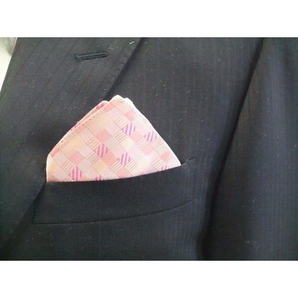 ピンクのグラデーション(4色)の市松模様ポケットチーフ(チーフ23cm) / PC-IG004|allety|03