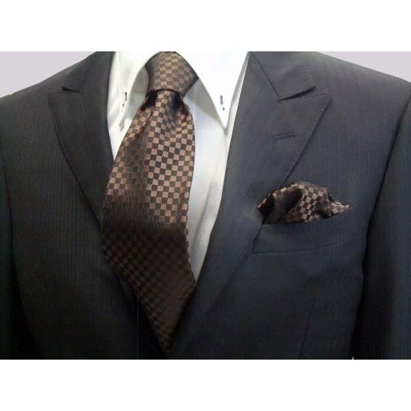 ブラゥン(茶)×ブラック市松模様ネクタイ&ポケットチーフセット(チーフ30cm) / CS-IT007|allety