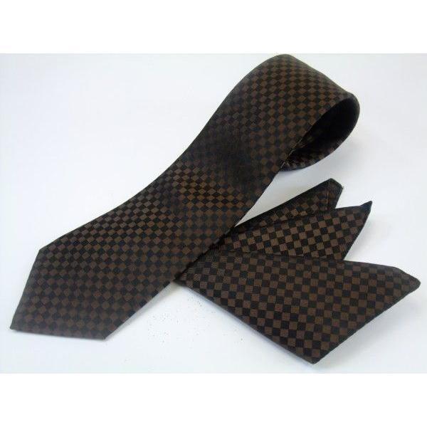 ブラゥン(茶)×ブラック市松模様ネクタイ&ポケットチーフセット(チーフ30cm) / CS-IT007|allety|02