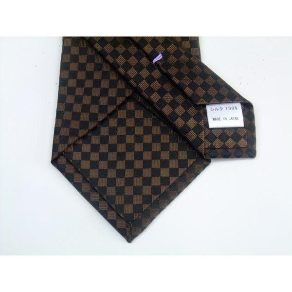 ブラゥン(茶)×ブラック市松模様ネクタイ&ポケットチーフセット(チーフ30cm) / CS-IT007|allety|03