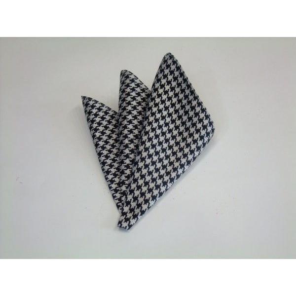 黒×きなりの千鳥格子ポケットチーフ(チーフ23cm) / PCN-TD001|allety