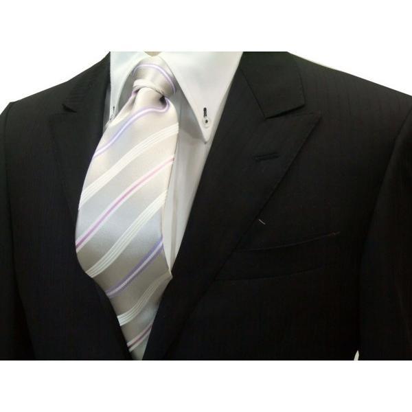 シルバーグレー地に白とラベンダーとピンクのストライプネクタイ / 結婚式・披露宴・フォーマル・礼装/STN-101026 allety