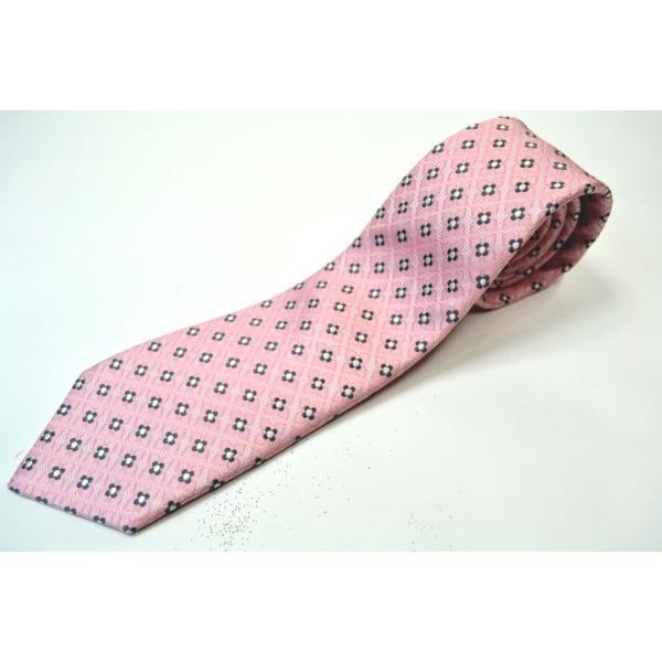 ピンクの織柄に地にチャコールグレーと白の小紋柄ネクタイ / KM-14SS05|allety|02