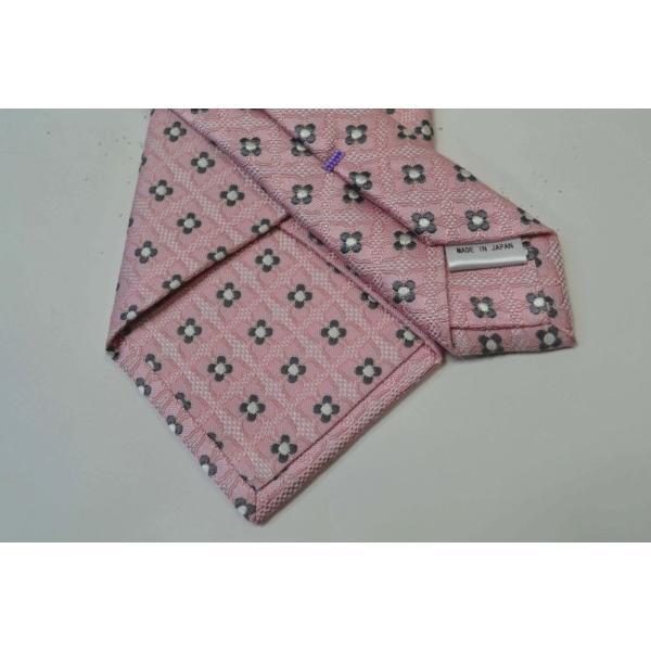 ピンクの織柄に地にチャコールグレーと白の小紋柄ネクタイ / KM-14SS05|allety|03