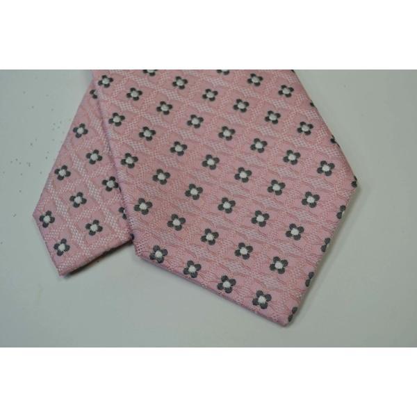 ピンクの織柄に地にチャコールグレーと白の小紋柄ネクタイ / KM-14SS05|allety|04