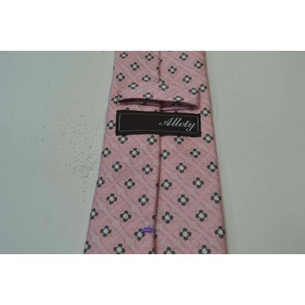 ピンクの織柄に地にチャコールグレーと白の小紋柄ネクタイ / KM-14SS05|allety|05