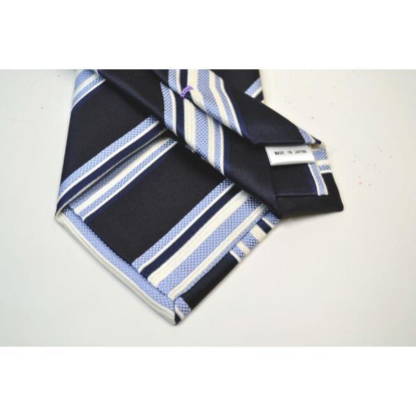 濃い紺地に白と水色のストライプネクタイ / STN-S11012|allety|03