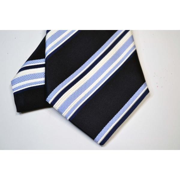 濃い紺地に白と水色のストライプネクタイ / STN-S11012|allety|04