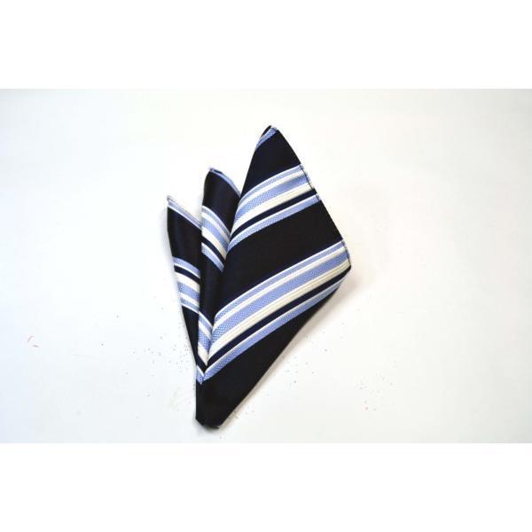 濃い紺地に白と水色のストライプポケットチーフ(チーフ23cm) / PCN-SS11012 allety