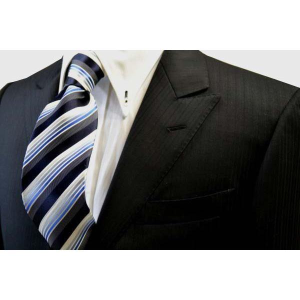 黒に近い紺と紺とブルーのグラデーションのストライプネクタイ / STN-S11019|allety