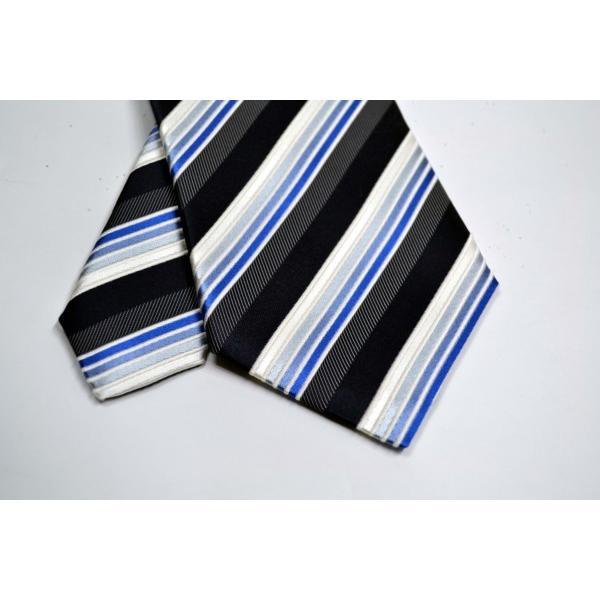 黒に近い紺と紺とブルーのグラデーションのストライプネクタイ / STN-S11019|allety|04