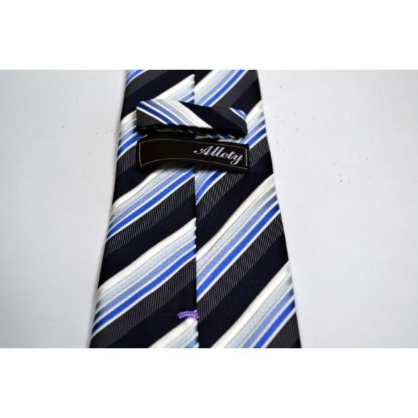 黒に近い紺と紺とブルーのグラデーションのストライプネクタイ / STN-S11019|allety|05