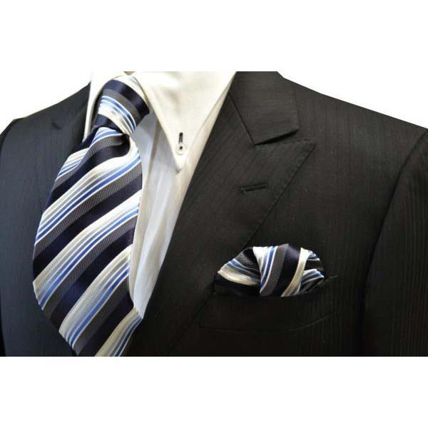 黒に近い紺と紺とブルーのグラデーションのストライプネクタイ&チーフセット(チーフ23cm) / CSN-SS11019 allety