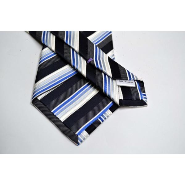 黒に近い紺と紺とブルーのグラデーションのストライプネクタイ&チーフセット(チーフ23cm) / CSN-SS11019 allety 03
