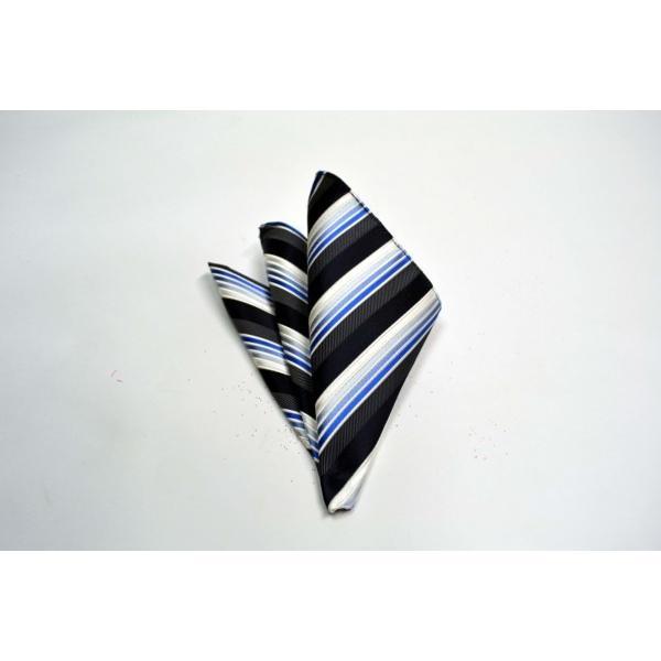 黒に近い紺と紺とブルーのグラデーションのストライプネクタイ&チーフセット(チーフ23cm) / CSN-SS11019 allety 04