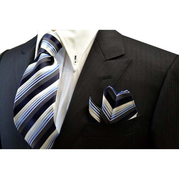 黒に近い紺と紺とブルーのグラデーションのストライプネクタイ&チーフセット(チーフ23cm) / CSN-SS11019 allety 05
