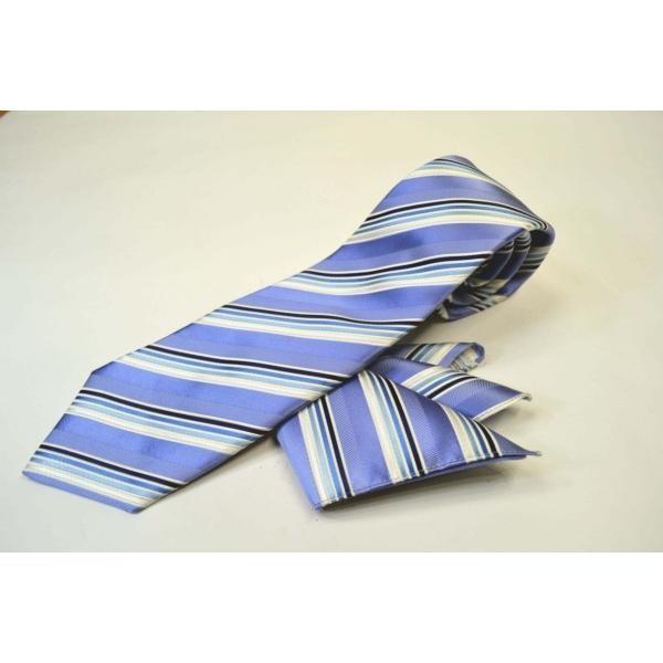 水色地に紺とブルーのグラデーションネクタイ&チーフセット(チーフ23cm) / CSN-W13028|allety|02