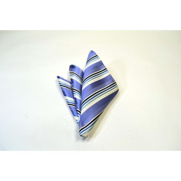 水色地に紺とブルーのグラデーションネクタイ&チーフセット(チーフ23cm) / CSN-W13028|allety|04