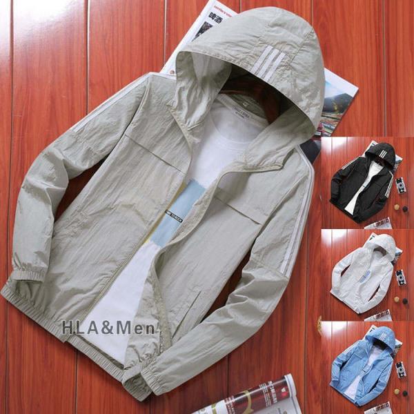ジャケット マウンテンパーカー メンズ 薄手 ウィンドブレーカー フルジップ フード付き アウトドア 夏 UVカット