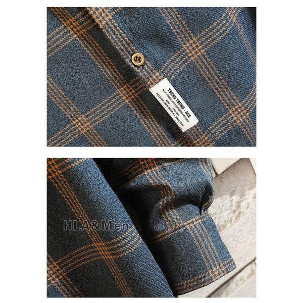 チェックシャツ シャツ メンズ 長袖 カジュアルシャツ 長袖シャツ 40代 50代 トップス 秋服 お兄系 新作|allforever|08
