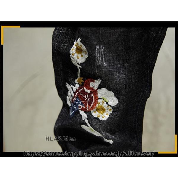 デニムパンツ メンズ おしゃれ ジーンズ デニム ストレッチ 刺繍 テーパードパンツ かっこいい 2019秋冬 新作 allforever 10