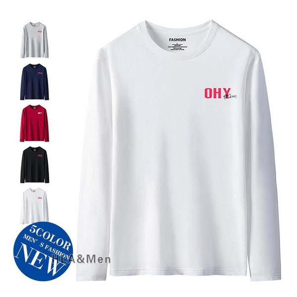 Tシャツ 長袖 メンズ ロゴTシャツ ティーシャツ カジュアルTシャツ 丸首Tシャツ トップス カジュアル