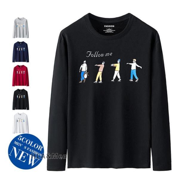 プリントTシャツ メンズ Tシャツ クルーネック 長袖Tシャツ ティーシャツ コットンTシャツ トップス おしゃれ 2019秋冬 新作|allforever