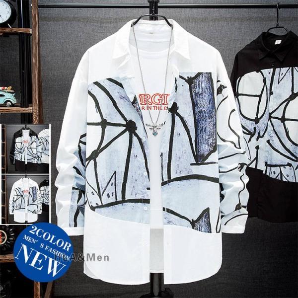 カジュアルシャツ メンズ おしゃれ シャツ 柄シャツ 長袖シャツ トップス 40代 50代 カジュアル
