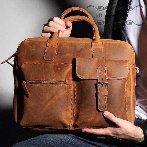 本革 ビジネスバッグ レザー ビジネス メンズ バッグ 軽い 軽量 使い勝手 ブラウン 大容量 就活 鞄 トートバッグ  ショルダー  PC対応