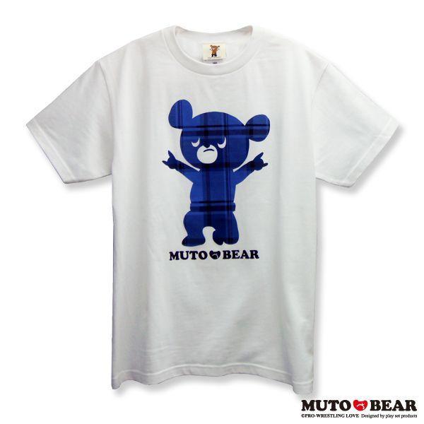武藤ベアー チェックブルー Tシャツ ホワイト|alljapan