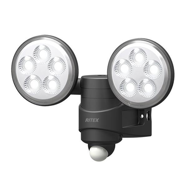 ムサシ RITEX センサーライト LED 100V 人感センサー内蔵 ハロゲン140W相当 4.5W×2 約720lm 防雨タイプ IP44 LED-AC208