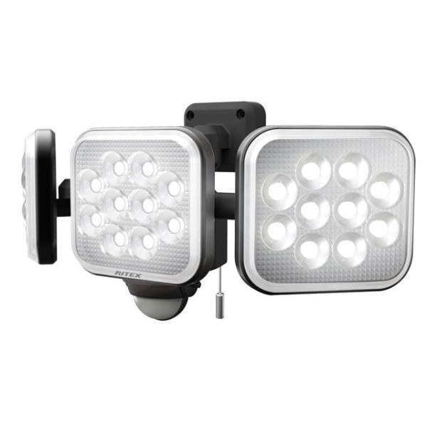 ムサシ RITEX センサーライト/投光器 LED 100V 人感センサー内蔵 フリーアーム式 ハロゲン800W相当 14W×3灯 白色 約4000lm 防雨形IP44 LED-AC3042