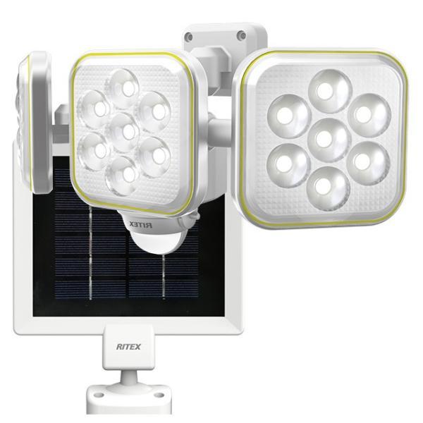 ムサシ RITEX ソーラーセンサーライト LED 人感センサー内蔵 防雨形 5W×3灯 フリーアーム式 S-90L
