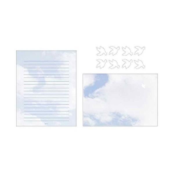 ミドリ レターセット 空色ノキモチ 86099006 ( 2 パック)/メール便送料無料
