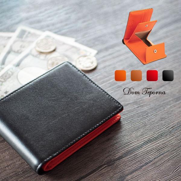 二つ折り財布メンズ牛革ボックス型小銭入れ大容量カード入れ折りたたみ財布DomTepornaItalyブランドコンパクト薄い薄型