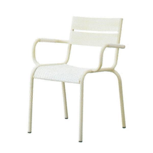 クスコ アームチェア ホワイト 肘掛 背もたれ 一人用椅子 腰掛 踏み台 椅子 チェア ガーデンチェア ガーデンファニチャー