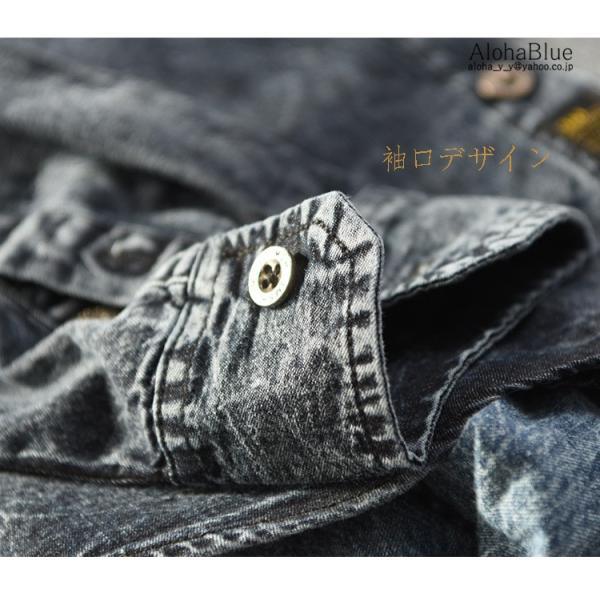 シャツ メンズ ダンガリーシャツ デニムシャツ カジュアルシャツ 開襟シャツ トップス ダンガリー 長袖 父の日|aloha0118|11