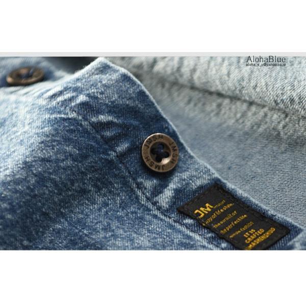 シャツ メンズ ダンガリーシャツ デニムシャツ カジュアルシャツ 開襟シャツ トップス ダンガリー 長袖 父の日|aloha0118|12