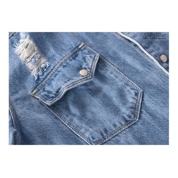 デニムシャツ メンズ ダンガリーシャツ カジュアルシャツ 開襟シャツ トップス ダンガリー シャツ 長袖シャツ 父の日|aloha0118|11