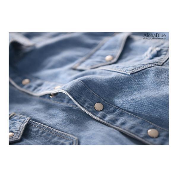 デニムシャツ メンズ ダンガリーシャツ カジュアルシャツ 開襟シャツ トップス ダンガリー シャツ 長袖シャツ 父の日|aloha0118|10