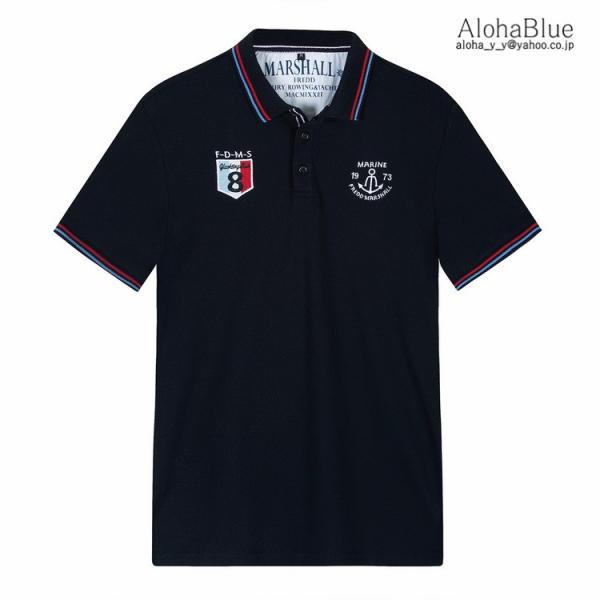 ゴルフウェア ポロシャツ メンズ Tシャツ ポロ ロゴ刺繍 カジュアルシャツ ゴルフシャツ POLO 夏 半袖 100%コットン 父の日 40代|aloha0118