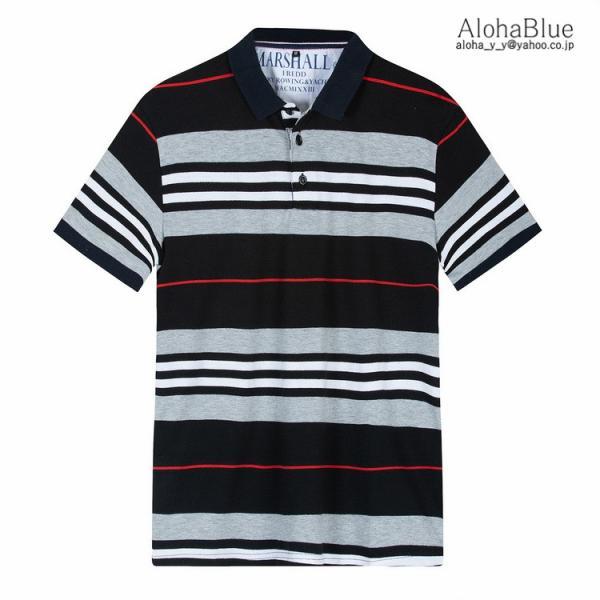 ボーダーポロシャツ メンズ Tシャツ ポロ ゴルフウェア ポロシャツ POLO ボーダー柄 半袖 100%コットン 父の日 40代 50代 60代 ファッション|aloha0118