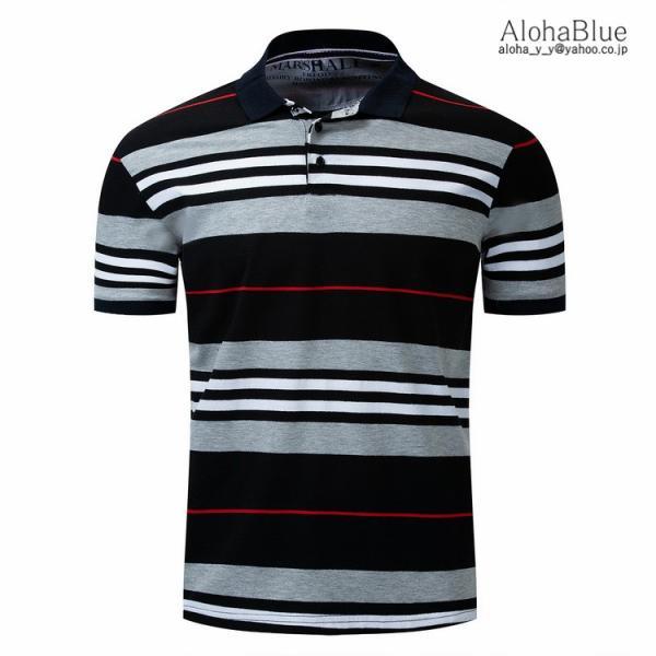 ボーダーポロシャツ メンズ Tシャツ ポロ ゴルフウェア ポロシャツ POLO ボーダー柄 半袖 100%コットン 父の日 40代 50代 60代 ファッション|aloha0118|03