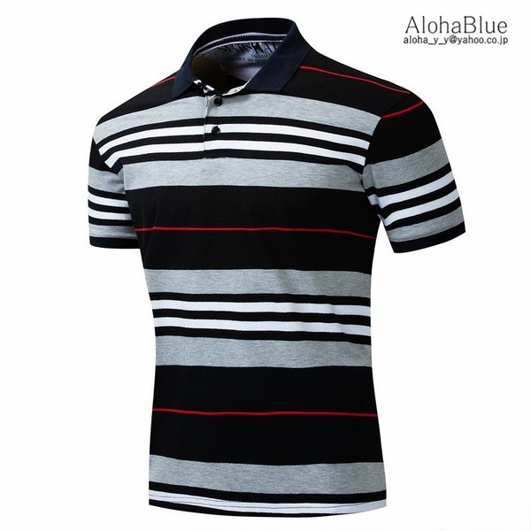 ボーダーポロシャツ メンズ Tシャツ ポロ ゴルフウェア ポロシャツ POLO ボーダー柄 半袖 100%コットン 父の日 40代 50代 60代 ファッション|aloha0118|04